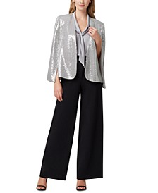 Shiny Cape Jacket, Tie-Neck Sleeveless Top & Crepe Wide-Leg Pants