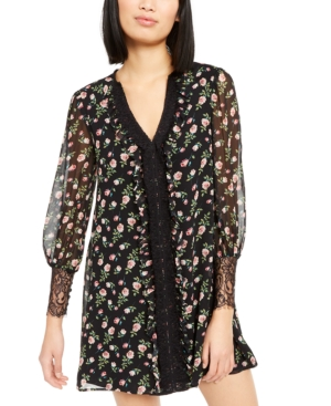 Nanette Lepore Dresses FLORAL-PRINT LACE-TRIM DRESS