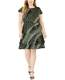 Plus Size Mixed-Print Ruffled Fit & Flare Dress