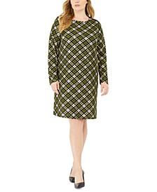 Plus Size Plaid Long-Sleeve Shift Dress