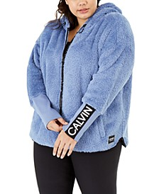 Plus Size Fuzzy Hooded Zip-Front Jacket