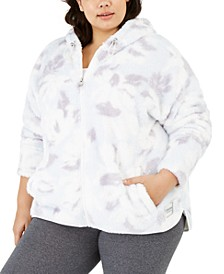 Plus Size Printed Fuzzy Zip-Front Jacket