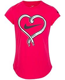 Little Girls Cotton Shoelace Heart T-Shirt