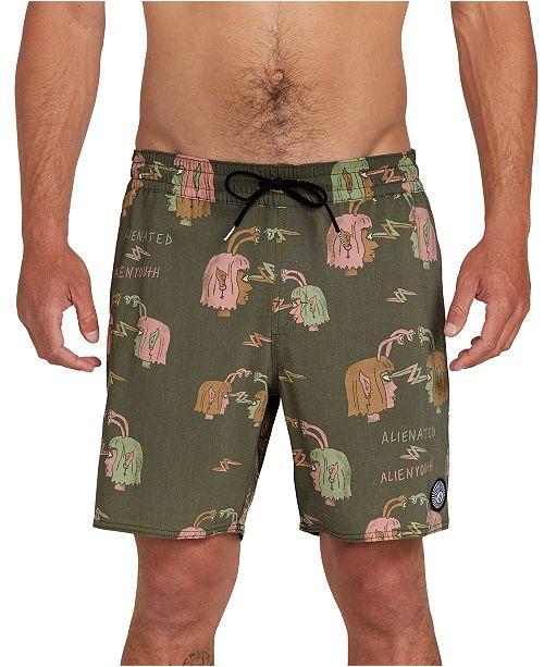 Volcom Men's Alienated Printed Swim Trunks