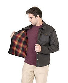 Men's Flannel Lined Waxed Cotton Shirt Jacket