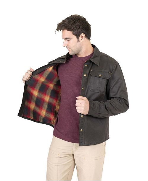 Mountain And Isles Men's Flannel Lined Waxed Cotton Shirt Jacket