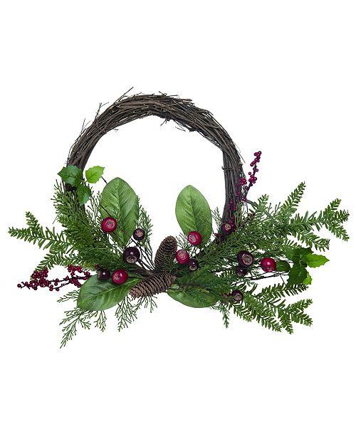 "Trans Pac 24"" Green Christmas Magnolia Leaves Wreath"
