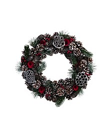 Large Green Christmas with Rosette Wreath