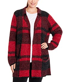 Plus Size Plaid Coatigan