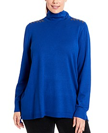 Grommet-Trim Turtleneck Sweater