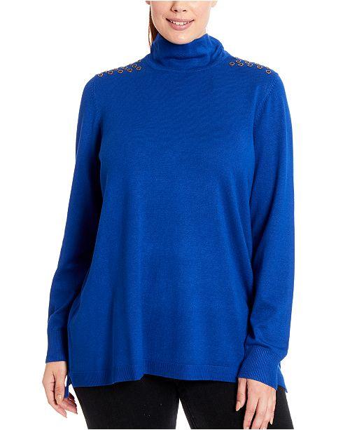 Joseph A Grommet-Trim Turtleneck Sweater