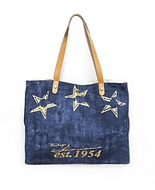 Denim And Star Tote Bag