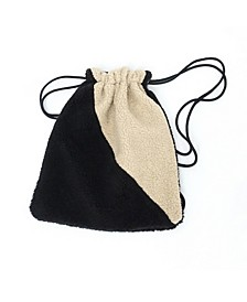 Faux Sherpa String Bag