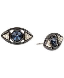 Hematite-Tone Crystal Evil Eye Stud Earrings