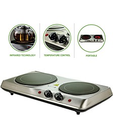 "Double-Plate 7"" and 6.5"" Cooktop Electric Infrared Burner"