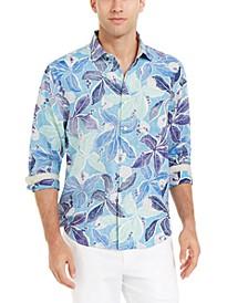 Men's Lassi Leaves Classic-Fit Leaf-Print Linen Shirt