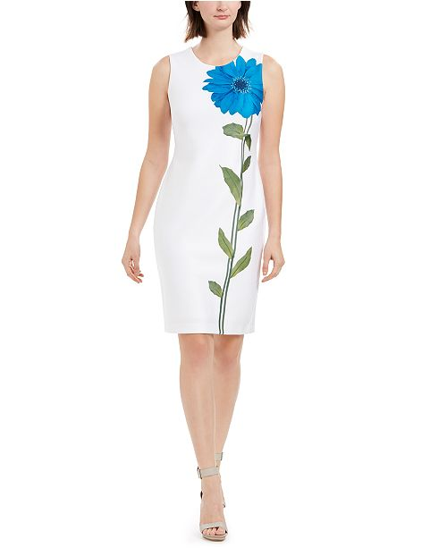 Calvin Klein Single Flower Sheath Dress