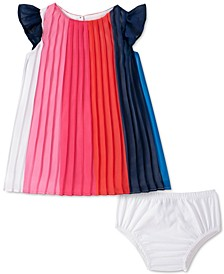 Baby Girls Pleated Colorblocked Dress