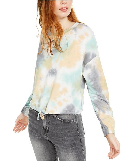 Hooked Up by IOT Juniors' Tie Dye Sweatshirt