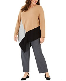 Plus Size Colorblocked Asymmetrical Top, Created For Macy's