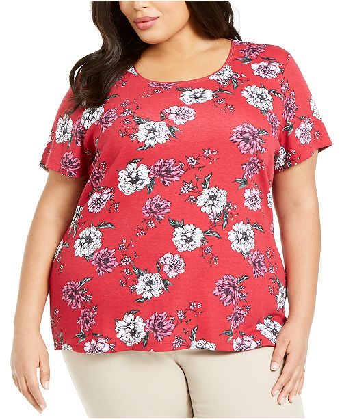 Karen Scott Plus Size Printed Short-Sleeve T-Shirt, Created For Macy's