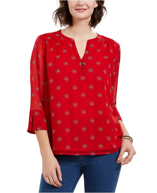 Charter Club Petite Printed Split-Neck Bell-Sleeve Top, Created for Macy's