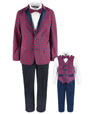 Toddler Boys Regular-Fit 4-Pc. Blue Tartan Vest Set