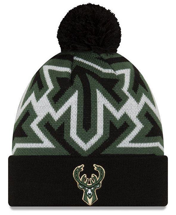 New Era Milwaukee Bucks Big Flake Pom Knit Hat
