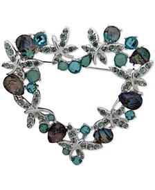 Silver-Tone Crystal & Stone Heart Wreath Pin