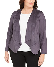 Plus Size Faux-Suede Draped Jacket