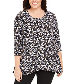Plus Size Printed 3/4-Sleeve Tunic