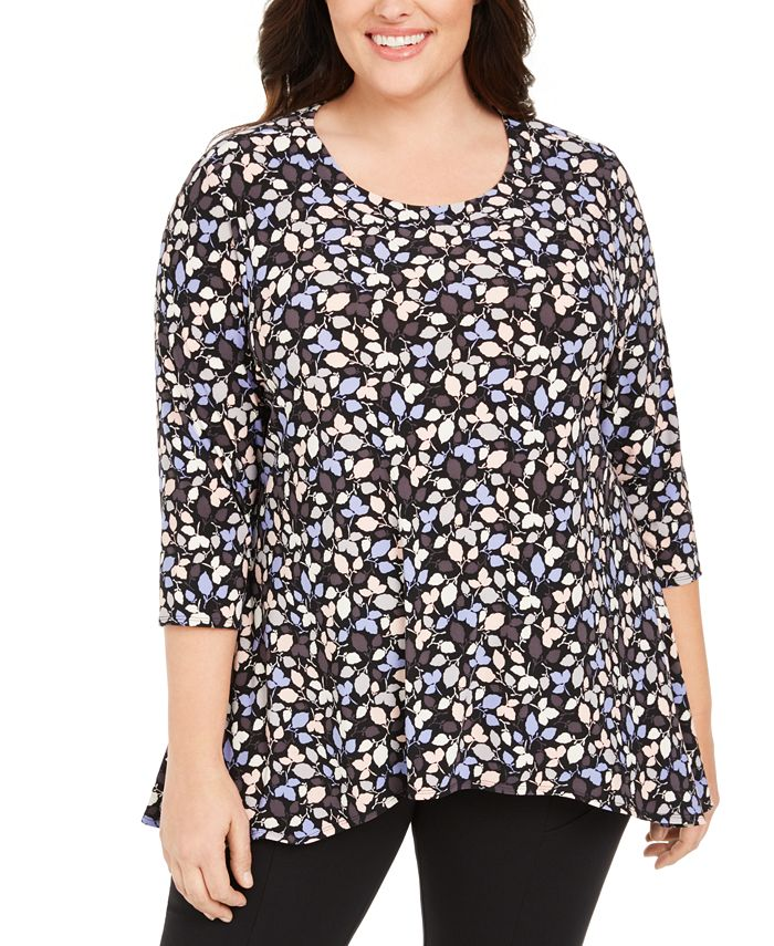 Anne Klein - Plus Size Printed 3/4-Sleeve Tunic