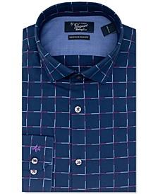 Men's Heritage Slim-Fit Performance Stretch Navy Blue Grid Dress Shirt