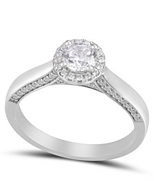 Diamond Round Halo Engagement Ring (3/4 ct. t.w.) in 14k White Gold
