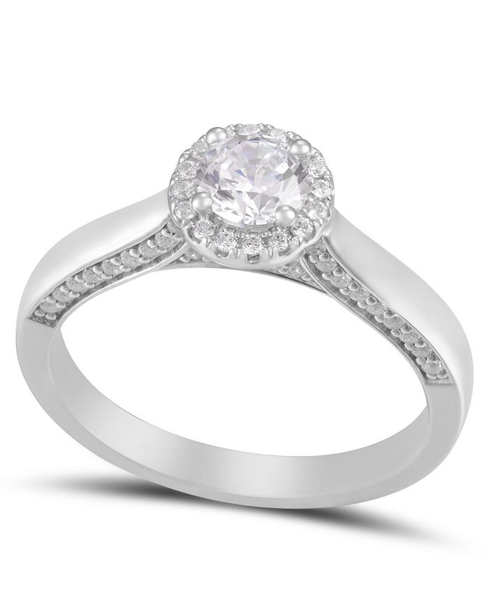 Macy's - Diamond Round Halo Engagement Ring (3/4 ct. t.w.) in 14k White Gold