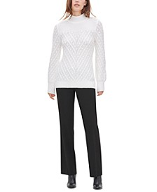 Popcorn-Knit Mock-Neck Sweater