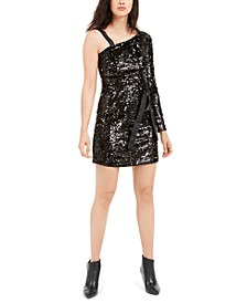 Sequin One-Shoulder Mini Dress