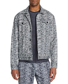 Men's Slim-Fit Stretch Snake Skin Print Trucker Jacket
