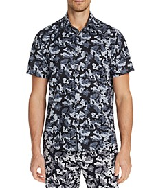 Men's Slim-Fit Performance Stretch Camo Floral Short Sleeve Shirt