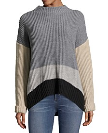 Petite Mock-Neck Colorblocked Sweater