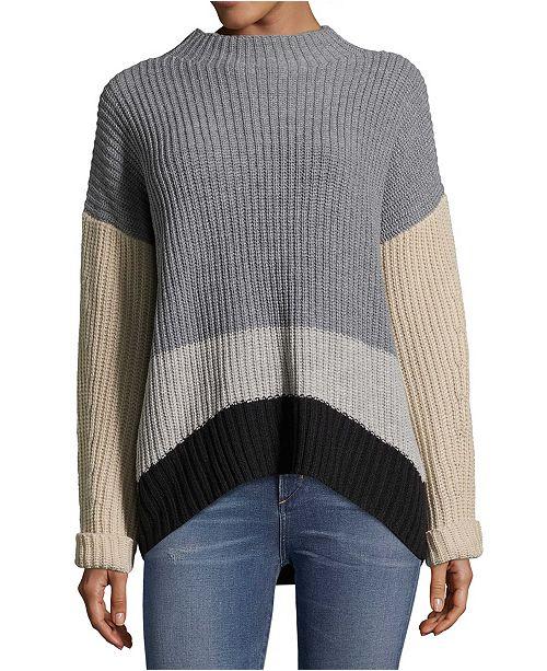 John Paul Richard Petite Mock-Neck Colorblocked Sweater