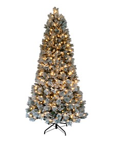 7.5' Pre-lit Two Tone Slim Green Tree with Hard Needle 500 Clear Lights