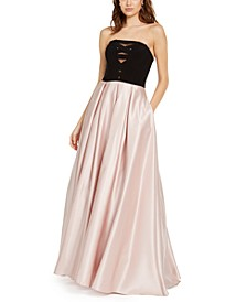 Juniors' Strapless Silk-Skirt Gown