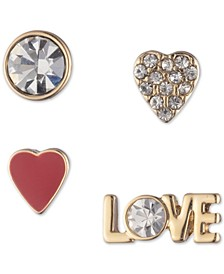 Gold-Tone 4-Pc. Set Crystal Love Mismatch Stud Earrings, Created For Macy's