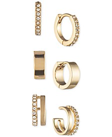 Gold-Tone 3-Pc. Set Extra-Small Pavé Hoop & Cuff Earrings, Created for Macy's, 0.43""