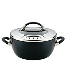 Symmetry Hard Anodized Nonstick Casserole with Locking Straining Lid, 5.5-Quart, Black