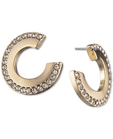 """Gold-Tone Small Pavé Front-and-Back Hoop Earrings, Created For Macy's, 0.55"""""""