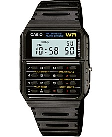 Unisex Digital Calculator Black Resin Strap Watch 35mm