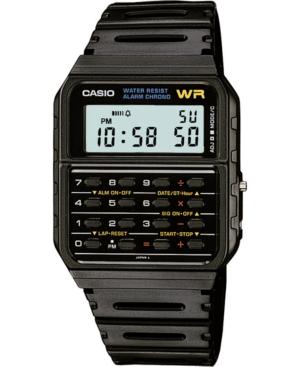 Unisex Digital Calculator Black Resin Strap Watch 35mm