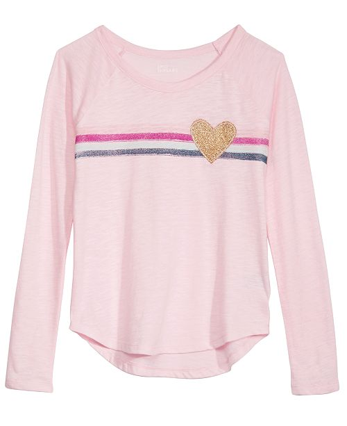 Epic Threads Big Girls Striped Heart T-Shirt, Created For Macy's